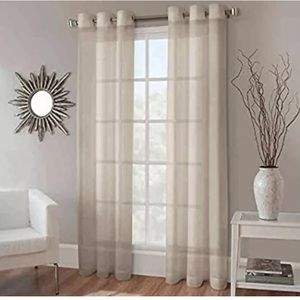 "2 Crushed Voile 50""x95"" Sheer Curtain Panels NEW"